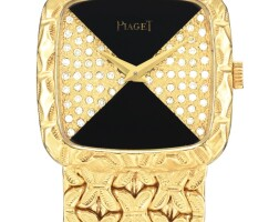 17. piaget   reference 9902 n91 a yellow gold and diamond-set bracelet watch with onyx dial, made in 1982