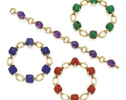 1. four 18 karat gold and colored stone bracelets, marzo, france