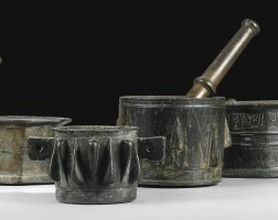 6. a group of six bronze mortars and two pestles, persia and spain, circa 12th century