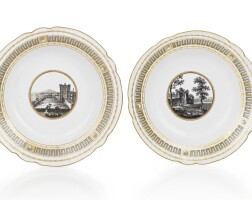 35. two russian porcelain soup plates from an imperial service, imperial porcelain manufactory, st. petersburg, period of paul i (1796-1801)