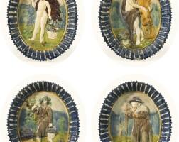 8. suite de quatre plats ovales en terre vernissée de la suite de palissy (pré d'auge ou manerbe) du début du xviie siècle