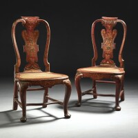 14. a pair of george ii parcel-gilt scarlet japanned side chairs, circa 1730, by giles grendey