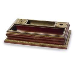 33. a régence ormolu-mounted and brass-inlaid amaranth encrier circa 1715