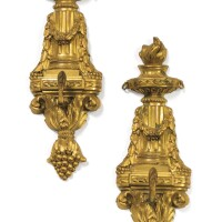 10. pair of gilt-bronze watch holders inlouis xvi style, 19th century