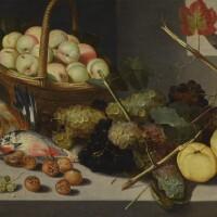 132. pieter binoit | still life with a basket of peaches, grapes, snail shells, medlars and dead game, all arranged beneath an open window