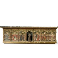 12. a spanish painted and giltwood predella, partly late 15th century |