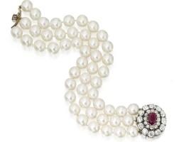 285. 養殖珍珠配紅寶石及鑽石手鏈