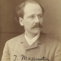 192. massenet, jules. fine large photograph signed, showing the composer three-quarter face