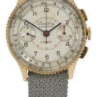 1. breitling | a pink gold chronograph wristwatch with registersref769 case 497237chronomat circa 1945