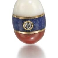 307. a jewelled hardstone egg pendant, st petersburg, 1908-1917