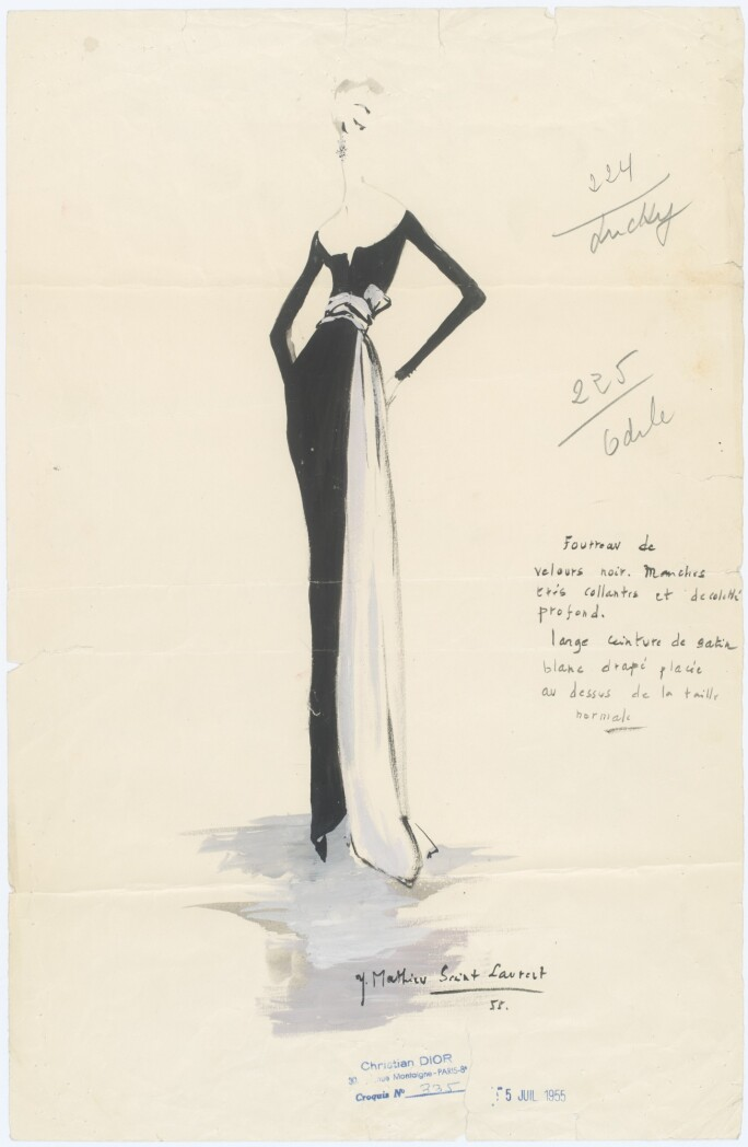 Sketch by Yves Saint Laurent, Collection Dior Heritage, Paris