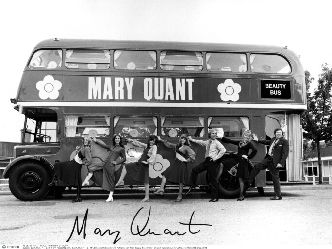 Quant, Mary, * 11.2.1934, British fashion designer, photograph of her Beauty Bus, 1960s, 20th century, 60s, clothes, outfit, out