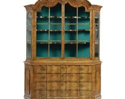 91. a dutch walnut and burr-walnut display cabinet first half 18th century
