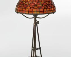"1. tiffany studios | ""vine border"" table lamp"