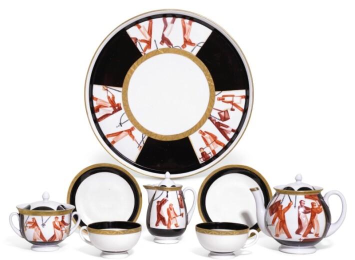 Soviet Porcelain tea set in an auction selling Russian Ceramics