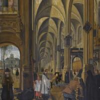 134. sebastiaen vrancx | church interior, withfigures performing the work of charity, burying the dead