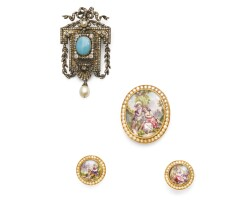 6. turquoise and diamond brooch, mid 19th century, and a porcelain and seed pearls demi-parure