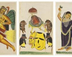 4. three kalighat paintings