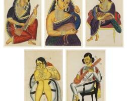 2. five kalighat paintings