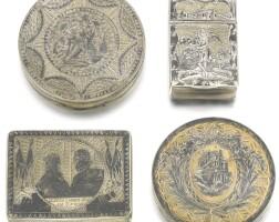 481. four silver-gilt and niello boxes, moscow