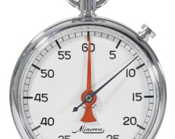 10. minerva   a stainless steel stop watch with registercase 603716 circa 1970