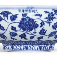 11. a large and brilliantly painted blue and white 'peony' fruit bowlmark and period of xuande  