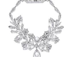 170. 18k白色黃金鑲養殖珍珠配鑽石吊墜項鏈