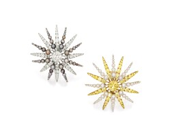 1746. pair of fancy intense yellow diamond, diamond and pearl earrings, bhagat