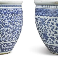 1007. two massive chinese blue and white jardinieres, qing dynasty, 19th century |