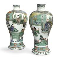 336. 清康熙辛巳年(1701年) 五彩加官進爵圖梅瓶一對 《辛巳年製》款 |