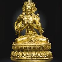 41. a gilt-bronze figure of manjushri yongle mark and period