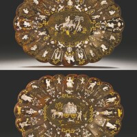 19. a pair of italian piqué-work mother-of-pearl and gold inlaid tortoiseshell dishes naples, circa 1740