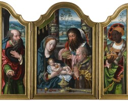 26. pieter coecke van aelst the elder and workshop | a triptych: the adoration of the magi; withsaint joseph (left wing) and balthazar (right wing)
