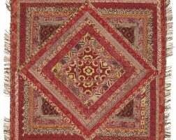 2. an uzbek silk and metal-thread embroidered panel, central asia