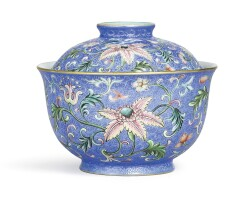 3608. a superbly enamelled blue-ground 'yangcai' sgraffiato 'floral' bowl and cover seal marks and period of qianlong