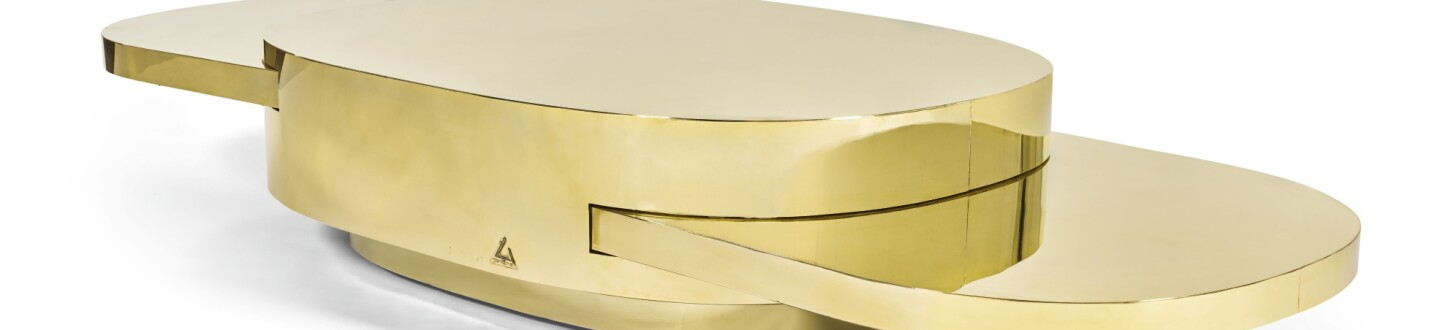 GABRIELLA CRESPI, 'ELLISSE' ADJUSTABLE LOW TABLE, FROM THE 'PLURIMI' SERIES.