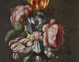 144. ambrosius bosschaert the younger   still life with tulips and roses in a glass vase