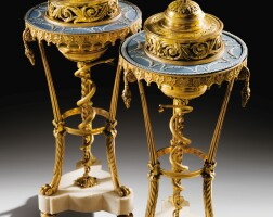 9. a pair of gilt-bronze mounted, wedgwood manufactured blue and white biscuit athéniennespots-pourris, louis xvi |
