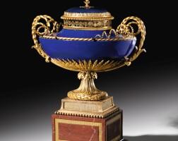 29. a gilt-bronze mounted sèvres 'beau bleu' hard paste porcelain pot-pourri, 'rouge griotte' marble, louis xvi, circa 1785, made under the direction of dominique daguerre, the mounts attributed to pierre-philippe thomire  