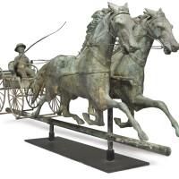 1778. molded copper four-wheel wagon team weathervane, j.w. fiske & co., new york, circa 1880 | four wheel wagon team