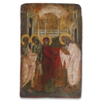 15. a greek icon of the presentation in the temple, late 17th century