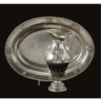 31. a german silver ewer and basin, maker's mark only ich, circa 1800