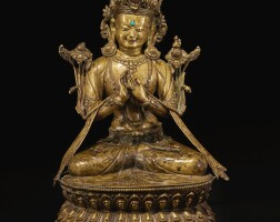 330. 西藏 十五 / 十六世紀 銅錯銀嵌及綠松石彌勒佛坐像 |