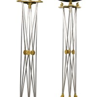 47. a pair of empire style gilt-bronze, patinated bronze and polished steel monumental torcheres,second half 20th century