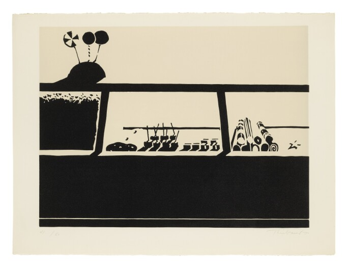 A monochrome print of a candy counter by Wayne Thiebaud