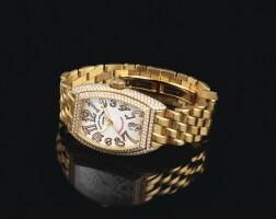 2034. franck muller   heavy yellow gold and diamond-set wristwatch withdate and braceletref8002sc dno 06 conquistador circa2007
