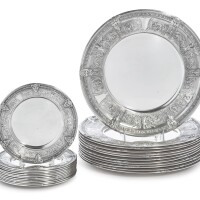 10. a set of twelve american silver florenz pattern dinner plates and twelve bread plates, gorham mfg. co., providence, ri, 1927 |