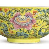 544. a fine famille-rose yellow-ground 'floral' bowl, daoguang seal mark and period |