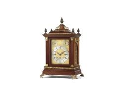 20. an english brass mounted mahogany quarter chiming table clock, circa 1898