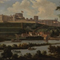 5. circle of hendrik danckerts | a view of windsor castle with the river thames